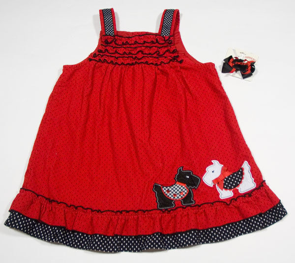 RARE EDITIONS GIRLS 4T JUMPER DRESS RED SCOTTY DOGS PUPPY POLKA DOTS & HAIRBOW