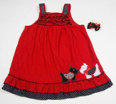 Rare Editions Girls 4 T Jumper Dress Red Scotty Dogs Puppy Polka Dots & Hairbow - $14.30