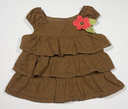 Gymboree Girls Size 2 T Top Island Getaway Tropical Flower Brown Tiered Eyelet - $10.09