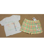 NWT OLD NAVY BABY GIRLS 0-3M OUTFIT BEACH PELICAN LOVES TO FLY TOP PLAID... - $12.61