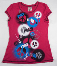 BEAUTEES GIRLS SIZE XL 16 PINK TOP NEW PEACE LOVE BRIGHT POP PINK SILVER... - $13.45