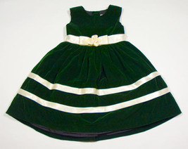 PERFECTLY DRESSED GIRLS 4 DRESS EMERALD GREEN VELVET SPECIAL OCCASION HO... - $16.82