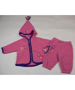 KOALA BABY 6-9M OUTFIT PINK PURPLE BIRDS FLEECE HOODED TASSLE TOP PANTS SET - $9.25