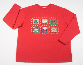 UGLY CHRISTMAS SWEATSHIRT WOMENS L LARGE RED SNOWMAN ANGEL TREE BUTTONS ... - $8.41