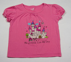 Healthtex Girls Size 5 Shirt Pink Princess On The Way Carriage Castle Top Sequin - $8.41