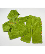 GYMBOREE GIRLS SIZE 18M 24M HOODIE TOP PANTS SET GREEN VELOUR ALL ABOUT ... - $15.98