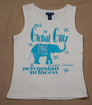 Limited Too Girls Size 12 Top Polynesian Princess Turquoise Elephant Tank Top - $12.61