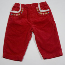 GYMBOREE GIRLS 6M 12M PANTS COLORFUL VILLAGE RED FLOWERS HEARTS SHERPA T... - $10.93
