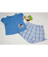 DORA THE EXPLORER NWT BABY GIRLS 12M TOP PLAID SHORTS SET OUTFIT BOOTS 12 M - $16.82