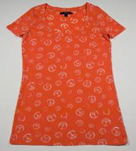 City Streets Womens Juniors Size Large L Top Shirt Peace Symbols & Hearts Orange - $12.61