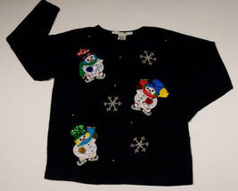 UGLY CHRISTMAS WOMENS MEDIUM M TOP SHIRT SNOWMAN BEADS SEQUINS SWEATER C... - $25.24