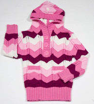 THE CHILDRENS PLACE GIRLS SIZE XS 4 HOODED SWEATER PINK KNIT ZIG ZAG TCP - $12.61