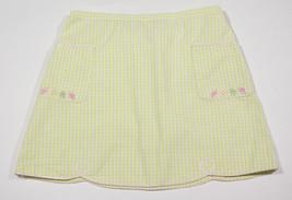 GYMBOREE GIRLS 8 SKIRT LEMONY FRESH CITRUS SLICES FRUITY GREEN GINGHAM C... - $12.61