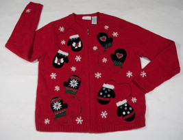 UGLY CHRISTMAS SWEATER WOMENS SMALL S MITTENS SNOWFLAKES DOGS BUTTONS BEADS - $25.24