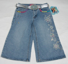 ZOEY 101 NWT GIRLS 10 CROPPED DENIM JEANS FLORAL FLOWERS COLORFUL JEWELS... - $16.82