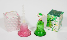 VTF AVON BELLS DECANTERS LOT OF 2 ROSEPOINT BELL & EMERALD GREEN BELL & BOX - $16.82