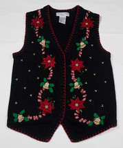 WOMENS PS UGLY CHRISTMAS HOLIDAY SWEATER VEST POINSETTIAS BELLS BEADS PE... - $21.03