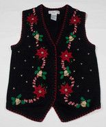 WOMENS PS UGLY CHRISTMAS HOLIDAY SWEATER VEST POINSETTIAS BELLS BEADS PE... - £15.43 GBP