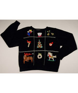 UGLY CHRISTMAS SWEATER WOMENS LARGE L BEADS SEQUINS REINDEER ANGEL SANTA... - £18.52 GBP