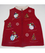 UGLY CHRISTMAS SWEATER VEST WOMENS L LARGE RED SNOWMEN SKIING HOLIDAY TREES - £18.52 GBP