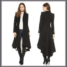 Late Medieval Victorian Gothic Lined Dovetail Buttons at Cuff Long Coat Jacket