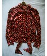 Tory Burch Shirt Top Silk Bow Tie Signature Logo size 6 - $49.95