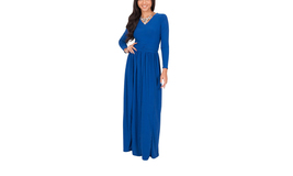 Women's V-Neck Long Sleeve Ruched Evening Cocktail Gown Maxi Dress - $29.99