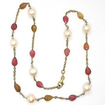 Silver 925 Necklace, Yellow, Tourmaline Drop, Pearls round, Chain Rolo ' image 2