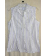Dockers White Sleeveless Striped Cotton Summer Shirt  SZ  M    NWOT - $6.99