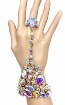 Stretching Statement Slave Bracelet Ring Aurora Borealis Rhinestones Dra... - $23.75