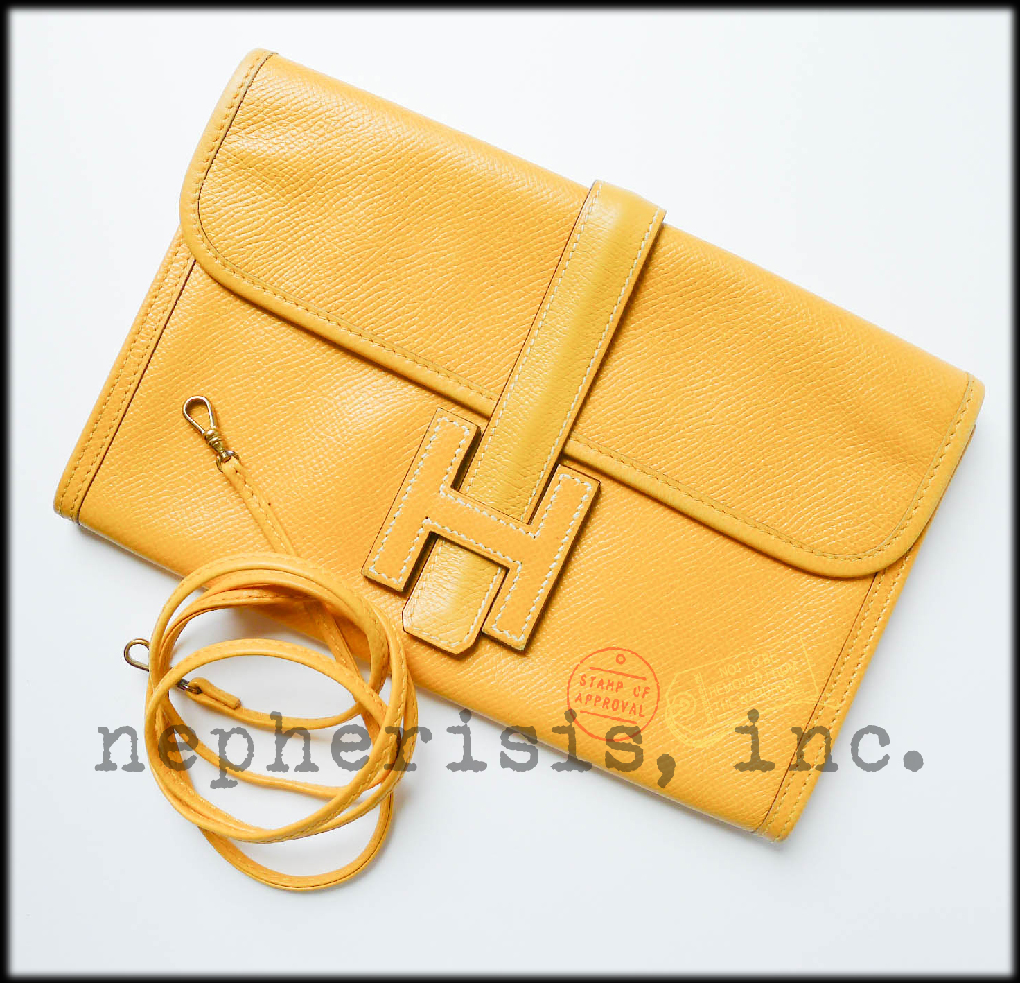AUTH RARE Hermes MINI MINI JIGE Leather Clutch Bag with Strap JAUNE COURCHEVEL