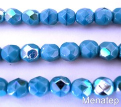 25 6mm Czech Glass Firepolish Beads: Sleeping Beauty Turquoise AB - $1.83