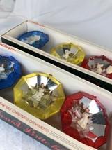 2 Vintage Jewelbrite Box of 3 Round Diorama Christmas Ornaments Angels b... - $38.61