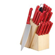 Sunbeam 21 Piece Bessemer Stainless Steel Cutlery Set with Wood Block, Red - ₨4,817.66 INR