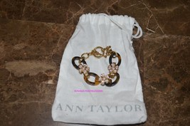Ann Taylor Rhinestone Flower Tortoise Gold Chain Toggle Bracelet - $6.00