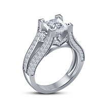 Sterling Silver Beautiful Simulated White CZ Classic Engagement Women's Ring - $72.99