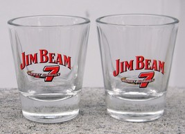 2 New Jim Beam Whiskey Shot Glasses Nascar #7 Bobby Gordon - $18.76