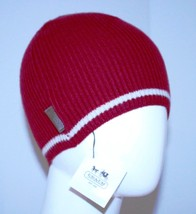 COACH Merino WOOL Red Ivory BEANIE Hat WINTER Ribbed - $99.97