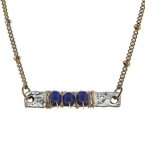 Jane Marie Wire Wrapped Lapis Blue Glass Bead Bar Necklace [Jewelry]