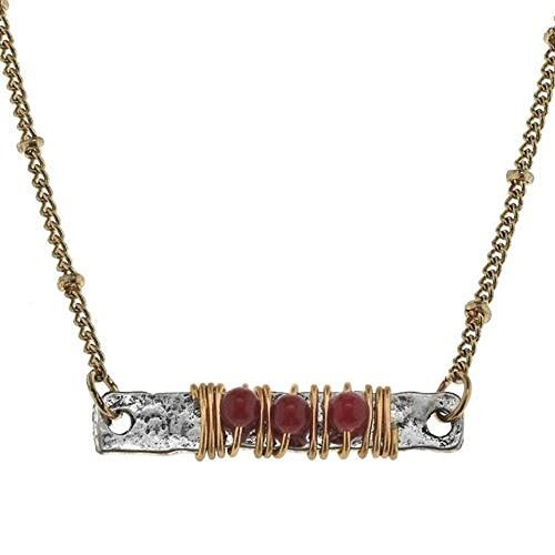 Jane Marie Wire Wrapped Garnet Red Glass Bead Bar Necklace [Jewelry]
