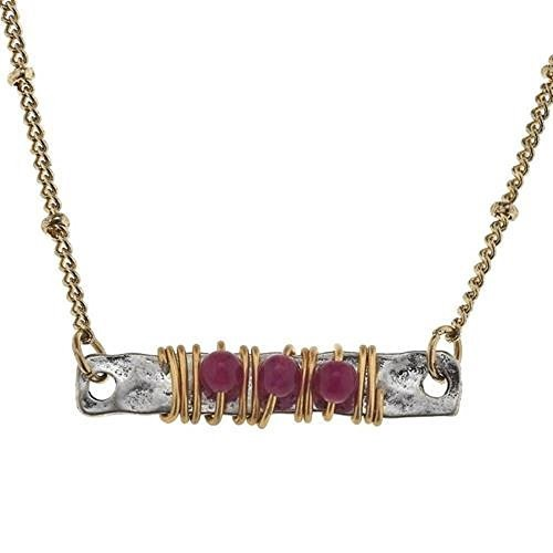 Jane Marie Wire Wrapped Fuschia Glass Bead Bar Necklace [Jewelry]