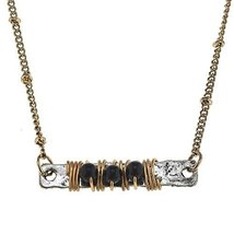 Jane Marie Wire Wrapped Jet Black Glass Bead Bar Necklace [Jewelry]
