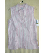Dockers Pink Sleeveless Striped Cotton Summer Shirt  SZ  M    NWT - $6.99