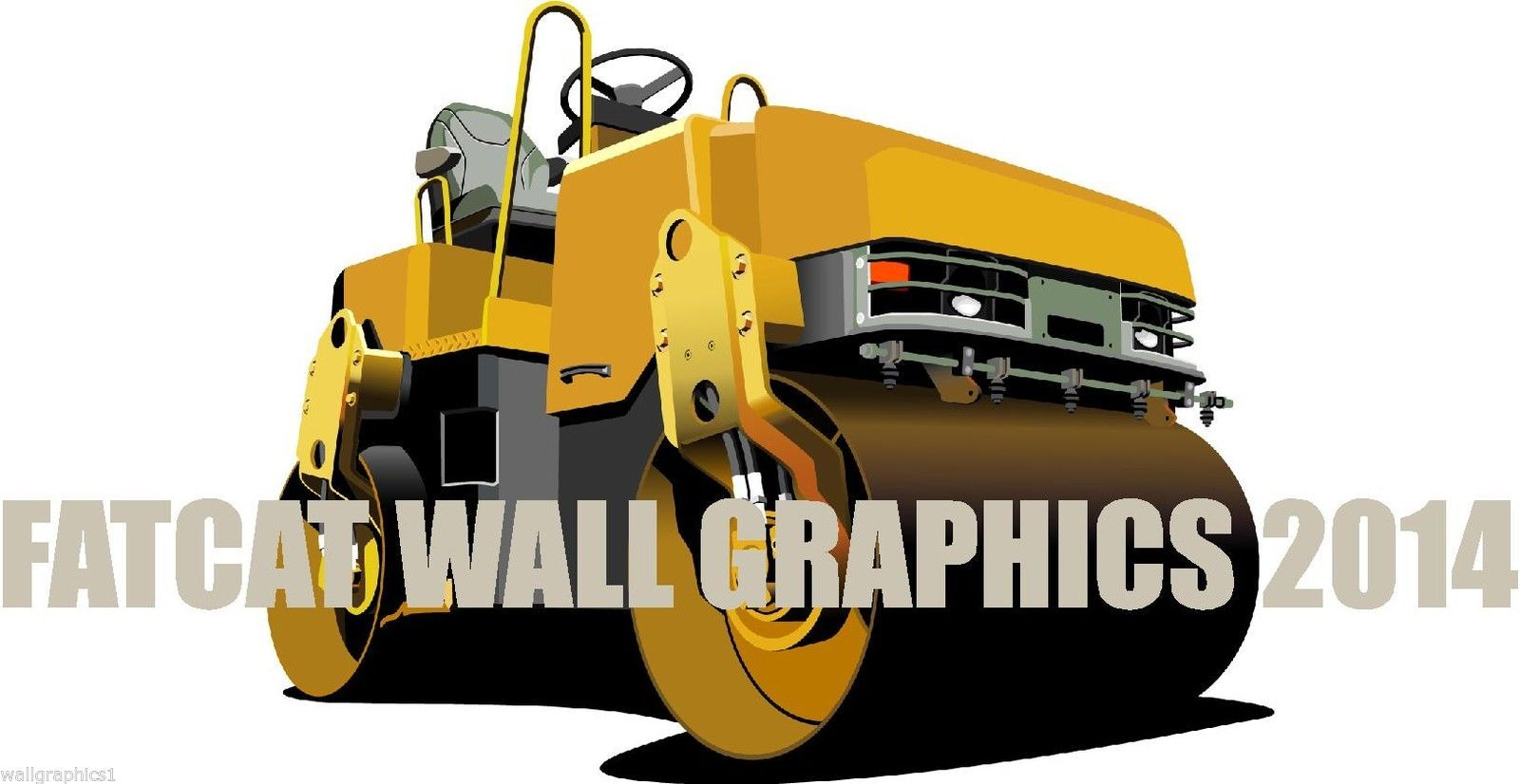 Heavy Equipment Decals : Steam roller paver heavy construction equipment wall