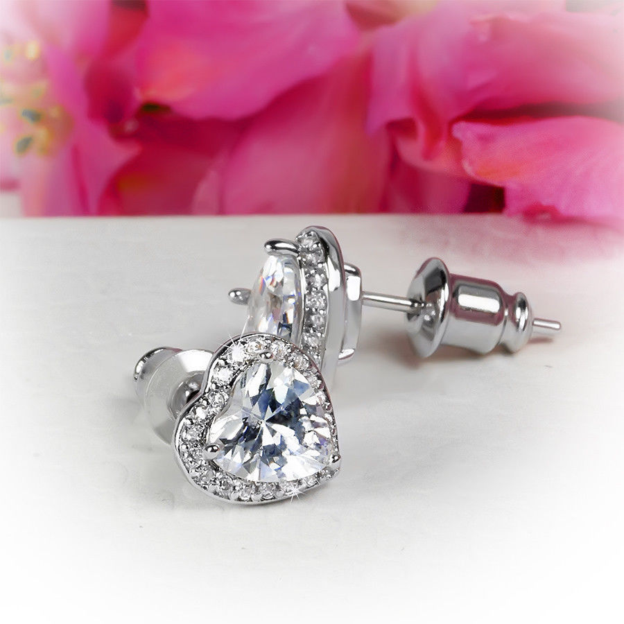 Womens Heart Shape Simulated Diamond Stud Earrings 0.50 CT Silver Plated Jewelry