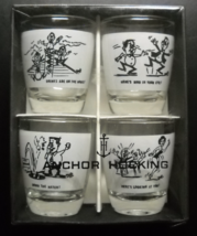 Anchor Hocking Shot Glasses Boxed Set of Four Vintage Humor White Wrap on Clear - $11.99