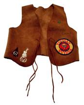1967 YMCA Adventure Guide Leather Vest (Hawk)  - $18.00