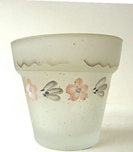 Candle Holder Flower Pot  Frosted Glass - $6.04