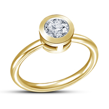 Yellow Gold Finishing 925 Sterling Silver White Simulated Diamond Solitaire Ring - $44.41