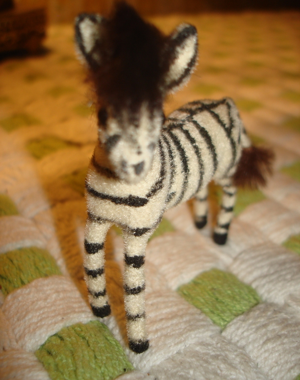 VINTAGE Kunstlerschutz HANDWORK WEST GERMANY ZEBRA ANIMAL FLOCKED FIGURE